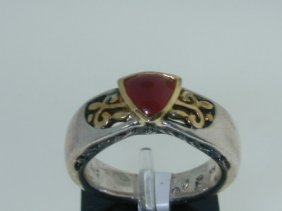14: BJC Silver 18K Yellow Gold Agate Ring.!!