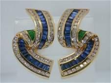 480: Krypell 18K 2-Tone Diamond Sapphire Emerald E