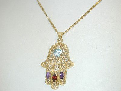 7: 14k Yellow Gold Multi-color Gem Stones Necklace.!!!