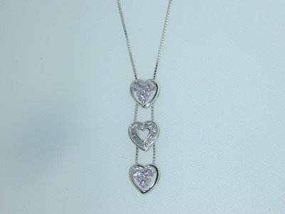 20: 14K White Gold Pink Sapphire Diamond Necklace!!!