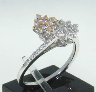 21: 14k White Gold with Diamond and Gold ring!!!