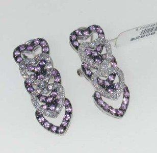 1: 14K White Gold Multi-color Diamond Earrings