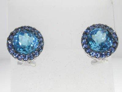 5: 14K White Gold Sapphire, Blue Topaz Earrings