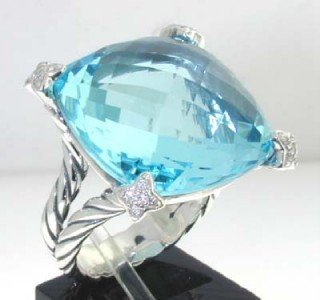 6: David Yurman Silver Blue Topaz & Diamond Ring.
