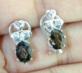 12: 14K White Gold Diamond, Smoky Topaz Earring