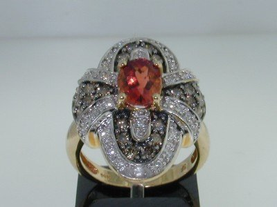 13: 14K Gold  Padparadscha Sapphire & Diamond Ring
