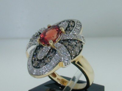 13: 14K Gold  Padparadscha Sapphire & Diamond Ring - 2