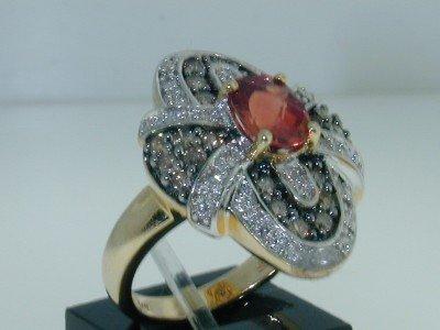 13: 14K Gold  Padparadscha Sapphire & Diamond Ring - 3