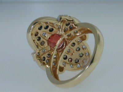 13: 14K Gold  Padparadscha Sapphire & Diamond Ring - 4