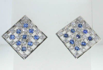 14: 14K White Gold with Diamond  and Sapphire Earring