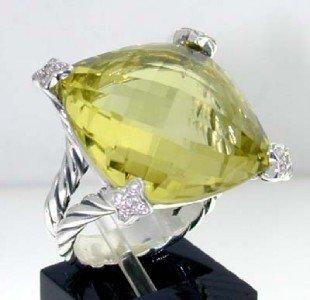 15: David Yurman Silver Lemon Citrine & Diamond Ring.