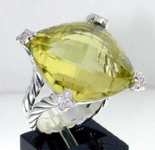 15: David Yurman Silver Lemon Citrine & Diamond Ring.