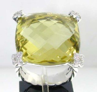 15: David Yurman Silver Lemon Citrine & Diamond Ring. - 2