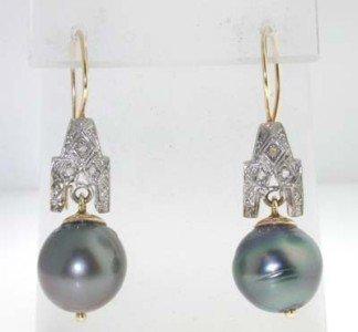 16: 14K  2 Tone Gold  Diamond & Black Pearl Earrings