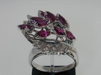 23: 14k White Gold Ruby Diamond Ring
