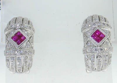 24: 14K white Gold  with Ruby and Diamond Earring - 2