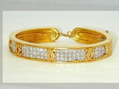 Cartier 18Kt Two-Tone Gold Diamond Bangle!