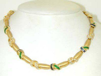 Krypell 18K Gold Sapphire, Emerald & Diamond Neck