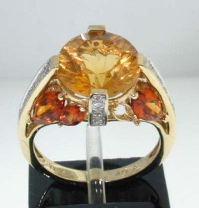 8: 14K Yellow Gold Diamond & Citrine Ring.