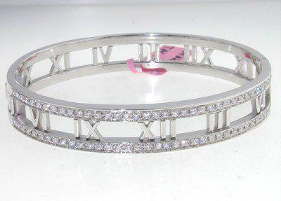 97: Tiffany & Co 18k White Gold Diamond Bangle