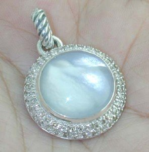 325: David Yurman Silver Moonquartz Diamond Pendant
