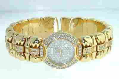 Juvenia 18K Yellow Gold, Diamond Bangle Watch.