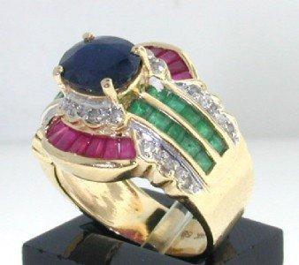 17: 14k Yellow Gold Sapphire, Ruby, Emerald & Diamond R