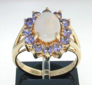 3: 14K Yellow Gold Opal, Tanzanite Ring