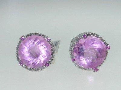 8: 14K White Gold Pink Topaz & Diamond Earrings!