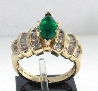 15: 14K Yellow Gold Lab Emerald & Diamond Ring