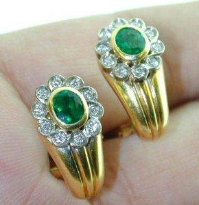 16: 18K Yellow Gold, Diamond & Emerald Earrings