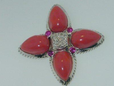 19: David Yurman Silver Coral & Diamond Tourmaline Pand