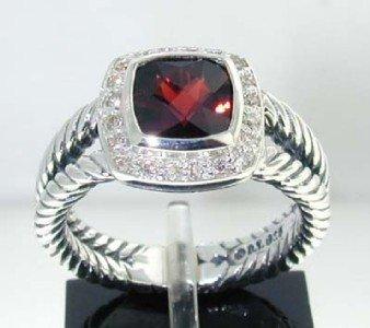 23: David Yurman Silver Rhodolite & Diamond Ring.