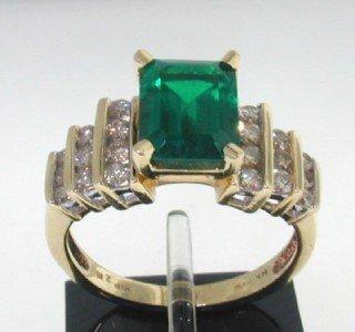 25: 14K Yellow Gold Lab Emerald & Diamond Ring
