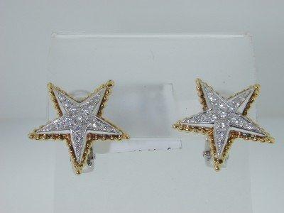 27: 18K 2Toned Gold Diamond Earrings.