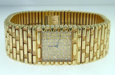 142: Piaget 18K Yellow Gold Diamond Watch.