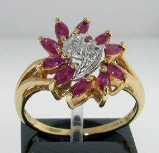 1: 10K Yellow Gold Ruby & Diamond Ring