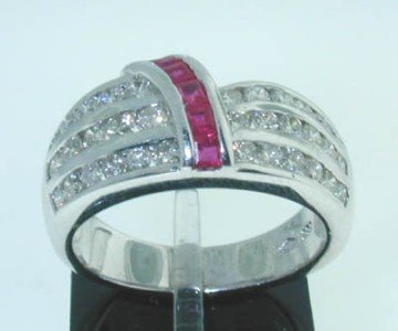 14: 14k White Gold with Ruby and Diamond ring !