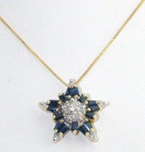 24: 14K Yellow Gold Diamond & Sapphire Necklace.