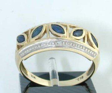 26: 10K 2- toned Gold Diamond & Sapphire Ring