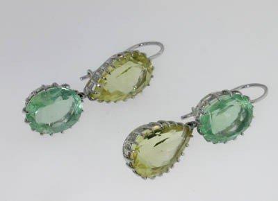 11: 14K White Gold Multi-color Citrine Earrings