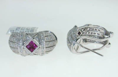 24: 14K white Gold with Ruby and Diamond Earring