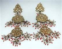 148 18K Yellow Gold Pearl Ruby  Diamond Earrings