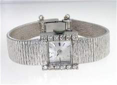 156 Omega 14K White Gold Diamond Wrist watch
