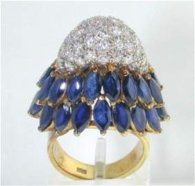 348: Salavetti 14K Yellow Gold Sapphire & Diamond Ring.