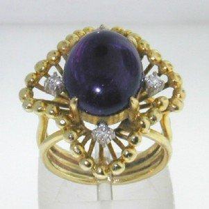 6: 14K Yellow Gold Cabochon Amethyst & Diamond Ring.
