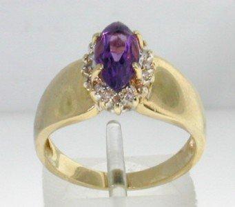 10: 14K Yellow Gold Amethyst Diamond Ring.