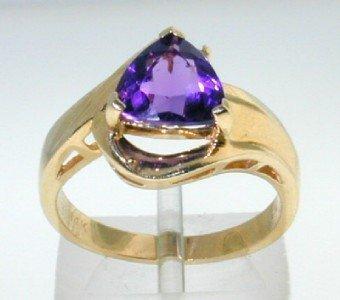 12: 14K Yellow Gold Amethyst Diamond Ring.