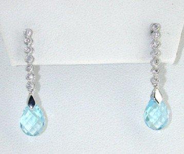 17: 14K White Gold Blue Topaz Diamond Earrings