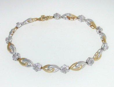 19: 14K Two-tone Gold, Diamond Bracelet